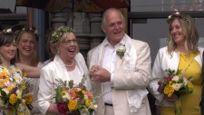 Elizabeth May and new husband John Kidder at Christ Church Cathedral in Victoria. (CTV Vancouver Island)