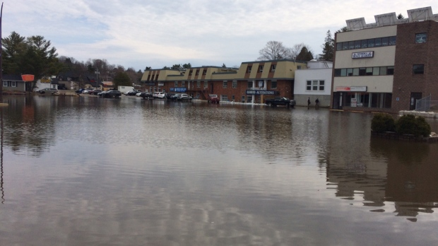 Several businesses in downtown Huntsville are threatened by the rising waters on Monday, Apr. 22, 2019 (CTV News/Rob Cooper)