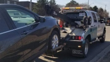 A vehicle was towed after the driver was allegedly clocked going double the speed limit. (@WRPS_Traffic / Twitter)