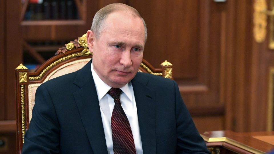 Russian President Vladimir Putin listens during a meeting in the Kremlin in Moscow, Russia, Monday, April 22, 2019. (Alexei Druzhinin, Sputnik, Kremlin Pool Photo via AP)