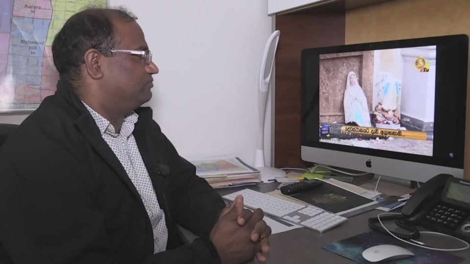 Nanthan Paramsothy watches terror erupting in his home country of Sri Lanka from his Bradford home on Mon. April 22, 2019 (CTV News/Sean Grech)