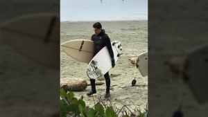 Prime Minister Justin Trudeau surfing