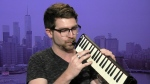 Charlie Rosen demonstrates the melodica during an interview with CTV News Channel.
