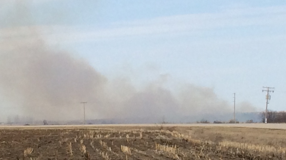 Smoke covers the area surrounding Warman, following a grass fire on Monday afternoon. (CTV Saskatoon)