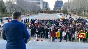 Premier-designate Jason Kenney spoke to Edmonton's Sri Lankan community a day after the terrorism attack in their home country.