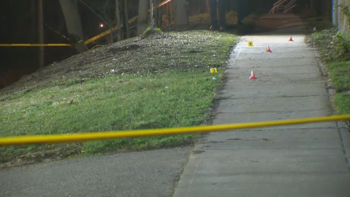Police tape and markers at the scene of an assault in Brantford. (Apr. 22, 2019)