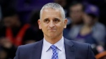FILE - In this Jan. 24, 2019, file photo, Phoenix Suns head coach Igor Kokoskov watches during the second half of an NBA basketball game against the Portland Trail Blazers. (AP Photo/Matt York, File)