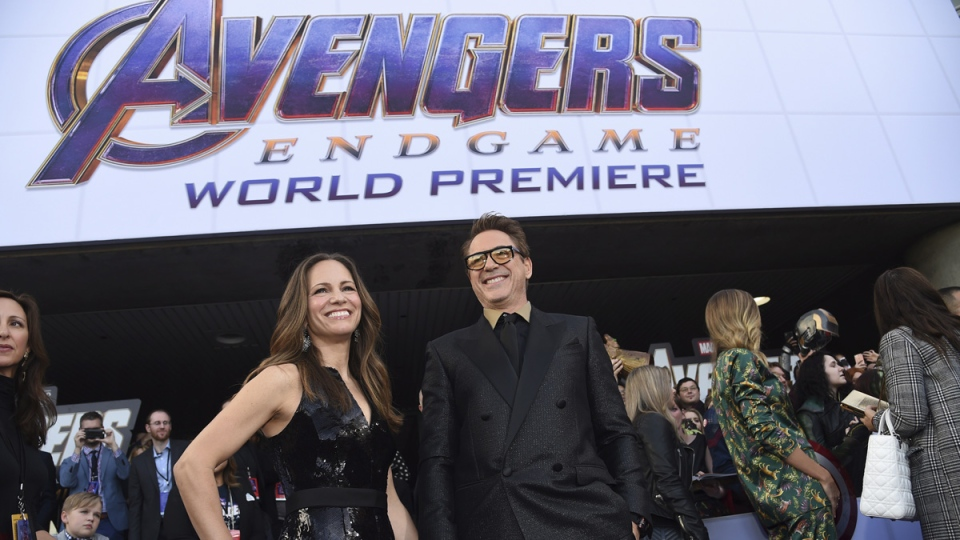 Susan Downey, left, and Robert Downey Jr. arrive at the premiere of 'Avengers: Endgame' at the Los Angeles Convention Center on April 22, 2019. (Chris Pizzello / Invision / AP)