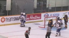 Sudbury Lady Wolves celebrate goal in Game 2 against St. Albert Slash during 2019 Esso Cup (Alex Lamothe/CTV Northern Ontario)