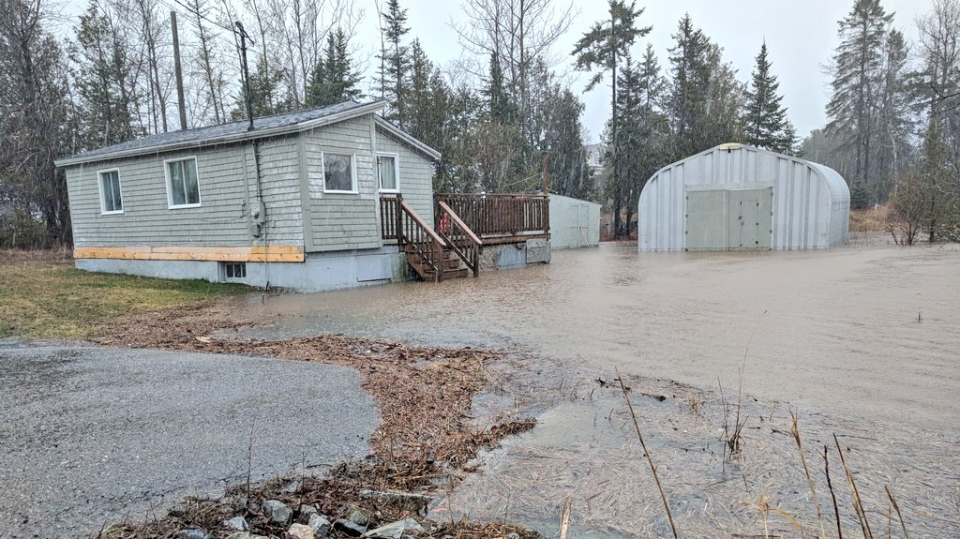 Floodwaters reached this home on Ragged Point Road in Saint John on April 23, 2019. (Laura Lyall/CTV Atlantic)