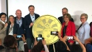 Finance Minister Bill Morneau and the Royal Canadian Mint unveil a new commemorative loonie, Tuesday, April 23, 2019.