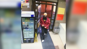 RCMP are searching for an armed man who robbed the Lakeside Liquor store in Wabamun, west of Edmonton, on April 17. (Photo submitted.)