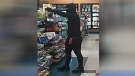 Surveillance image of a suspect wanted in connection with an armed robbery on April 10, 2019 and April 12, 2019 in Barrie. (Barrie Police Services)