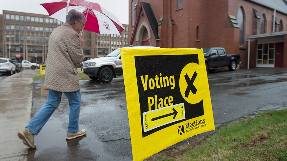 A voter arrives to cast their ballot in P.E.I.