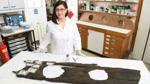 Luisa Duarte prepares a 12th-century toilet seat for display at the Museum of London. (Matt Crossick / PA Wire)