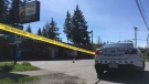 Happy Valley Market in Langford was behind police tape after a reported shooting Tues., April 23, 2019. (CTV Vancouver Island)