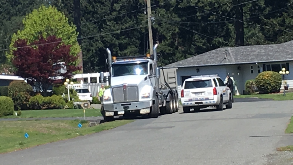 Another police incident unfolded on Leila Place in Langford. Nearby David Cameron Elementary was placed into hold and secure amid the ongoing incident. April 23, 2019. (CTV Vancouver Island)