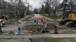 Road crews begin a massive project on Duckworth Street in Barrie on Tuesday, April 23, 2019 (CTV News/Sean Grech)