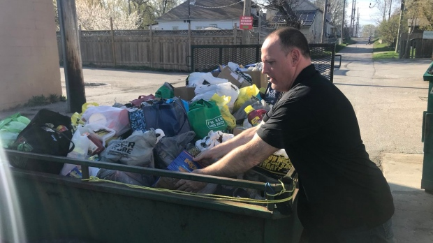 Cannabis advocate Leo Lucier drops off items collected during the Epic 420 Festival at Street Help in Windsor on April 22, 2019. ( Rich Garton / CTV Windsor )