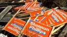 Stolen NDP signs dumped near Milo