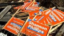 Stolen NDP signs dumped near Milo