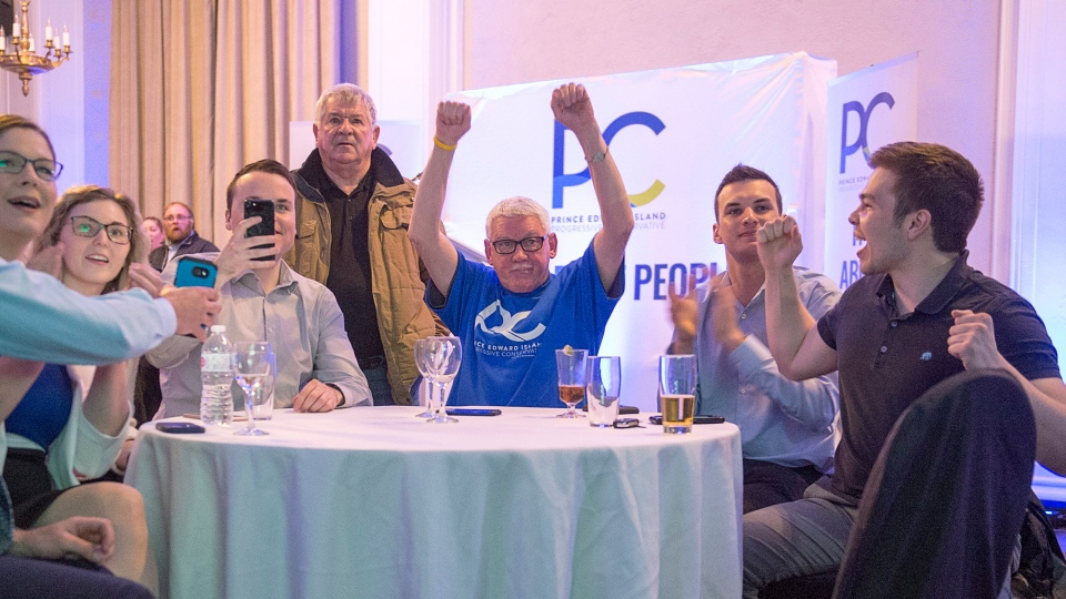Progressive Conservative supporters cheer as they watch the returns in the Prince Edward Island provincial election in Charlottetown on Tuesday, April 23, 2019. (THE CANADIAN PRESS/Andrew Vaughan)