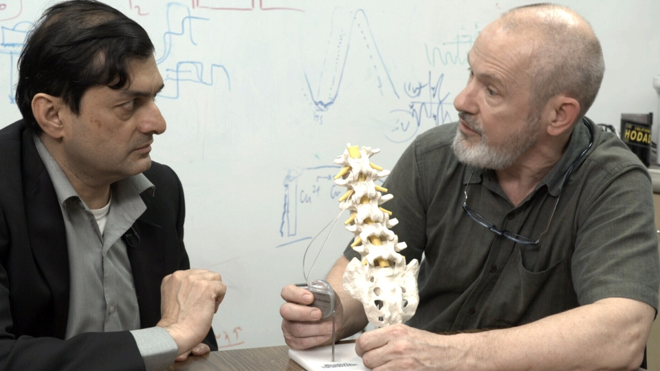 Dr. Mandar Jog and Dr. Andrew Parrent are part of the team researching the effects of electrical stimulation on people who have lost some of their ability to walk due to Parkinson's disease.