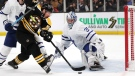 Boston Bruins left wing Brad Marchand, left, tries unsuccessfully to shoot past Toronto Maple Leafs goaltender Frederik Andersen (31) during the second period of Game 7 of an NHL hockey first-round playoff series, Tuesday, April 23, 2019, in Boston. (AP Photo/Charles Krupa)