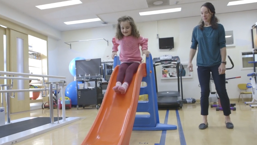 Julia Berardi is pictured at a physio appointment with Stephanie So, Physiotherapist at SickKids. (SickKids)
