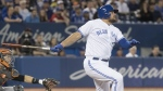 Toronto Blue Jays' Rowdy Tellez hits a grand slam against the San Francisco Giants during the eighth inning of their Interleague MLB baseball game in Toronto Tuesday April 23, 2019. THE CANADIAN PRESS/Fred Thornhill