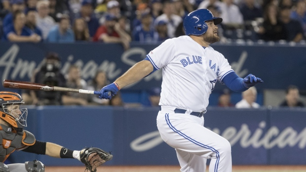 wholesale dealer 38b85 be282 Toronto Blue Jays  Rowdy Tellez hits a grand slam against the San Francisco  Giants during the eighth inning of their Interleague MLB baseball game in  ...