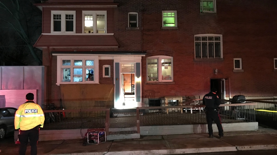 Police cordon off the scene of a fatal fire at a rooming house on Roncesvalles Avenue Tuesday April 23, 2019. (Mike Nguyen /CP24)