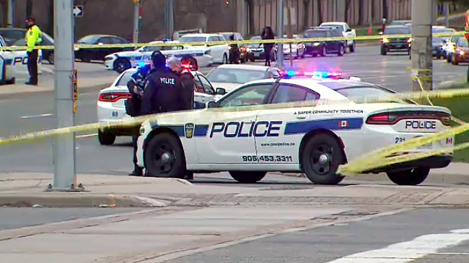 Peel Regional Police at the site of a fatal pedestrian crash on April 24, 2019.