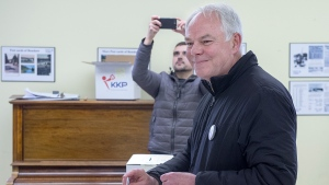 Peter Bevan-Baker, leader of the Green party, votes in the Prince Edward Island provincial election in Bonshaw, P.E.I. on Tuesday, April 23, 2019. THE CANADIAN PRESS/Andrew Vaughan