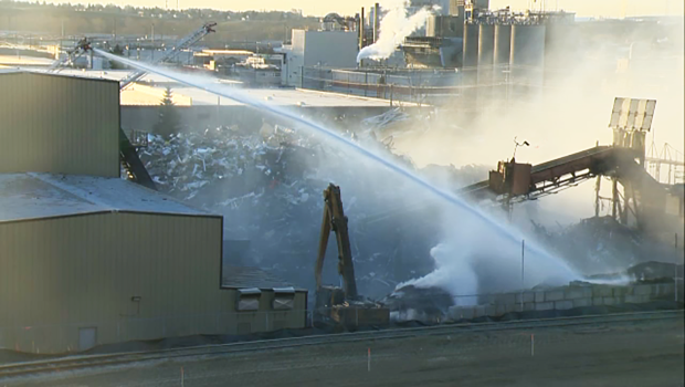 Calgary fire crews launch an aerial attack on a fire at an industrial yard in southeast Calgary.