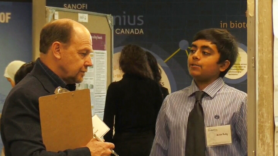 Grade 11 student Ashok Pandey said he thrilled to be standing shoulder to shoulder with other young researchers and showcasing his work.