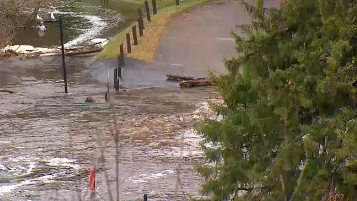 Flood waters in Bracebridge on April 24, 2019.