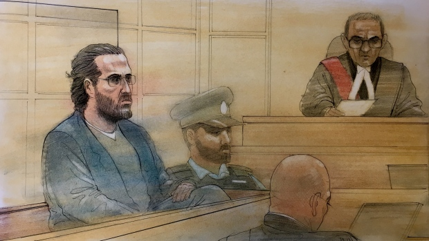 Ian Ohab appears in court for his sentencing in the murder of Melissa Cooper on April 24, 2019. (Sketch by John Mantha)