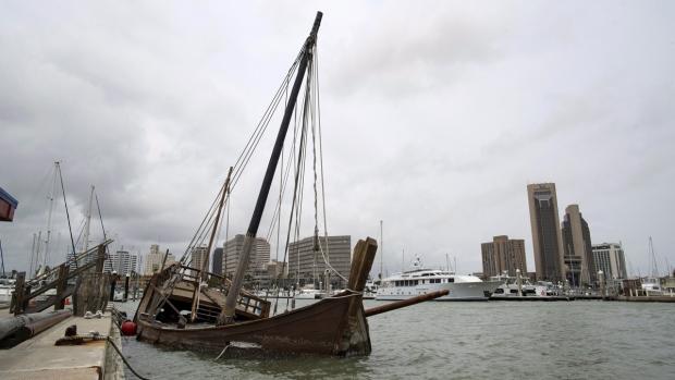 La Nina ship sunken at the Corpus Christi Marina