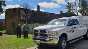 Nine people have been displaced after a fire at a townhouse complex in Kitchener. (Heather Senoran / CTV Kitchener)