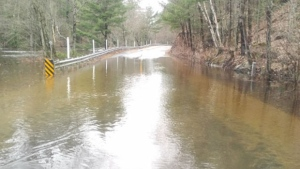 Coopers Falls Road in Gravenhurst is closed due to flooding from the Black River on Wed., April 24, 2019 (Gravenhurst Fire Chief Larry Brassard)