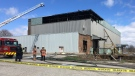 Firefighters on scene of a fire at an abandoned building. (Natalie van Rooy / CTV Kitchener)