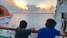 Two Ontario boys overlook the Gulf of Mexico on a cruise ship on March 9, 2019. (Melanie Borrelli / CTV Windsor)