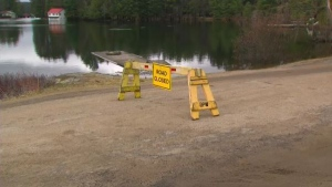 Road closed sign in Port Sydney where streets are flooded on Wednesday, April 24, 2019 (CTV News)