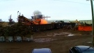 Crews tackle scrap yard fire