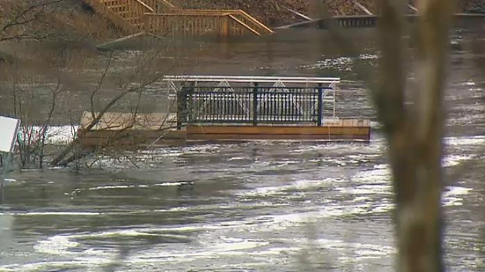Flood waters in Bracebridge, Ont. on April 24, 2019.