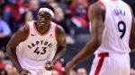 Toronto Raptors forward Pascal Siakam (43) smiles as he celebrates a dunk against the Orlando Magic during second half NBA basketball playoff action in Toronto on Tuesday, April 23, 2019. THE CANADIAN PRESS/Frank Gunn