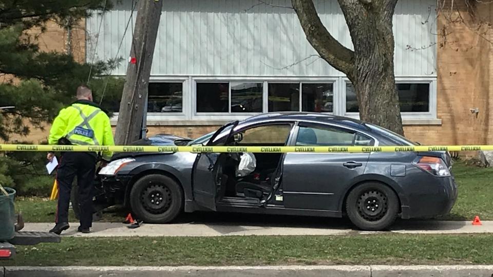 A vehicle crashed into a utility pole