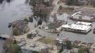 Flooded streets in Huntsville, Ont.