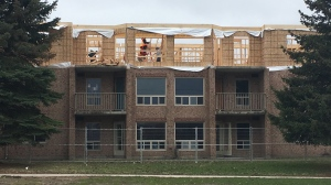 Construction is underway at the apartment building on Little Avenue in Barrie on Wed. Apr. 24, 2019 (CTV News/Sean Grech)